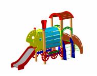 Детский игровой комплекс ДИК11«Паровозик с горкой и вагончиком» - купить у производителя